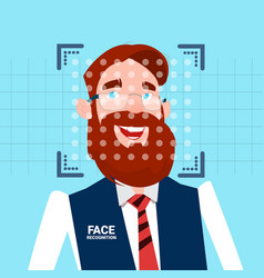 Businessman face identification technology scannig vector