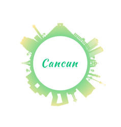 cancun skyline with colorful buildings circle vector image