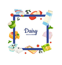 cartoon dairy and cheese products with vector image