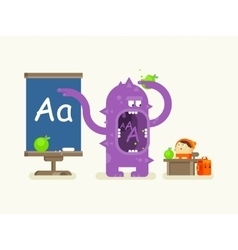 Cartoon monster teaches alphabet vector image