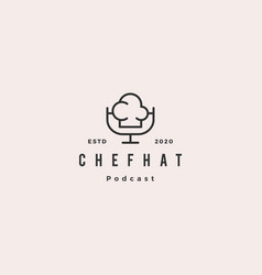 chef podcast logo hipster retro vintage icon for vector image