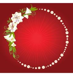 Circular floral frame vector image