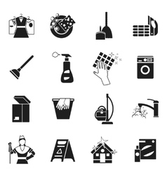 Cleaning Black White Icons Set vector