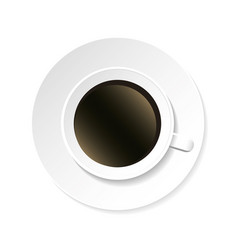Coffee cup and saucer top view isolated on white vector
