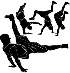 Collection silhouettes breakdancer vector