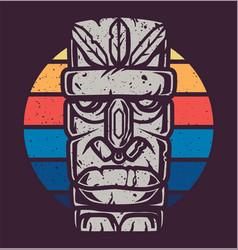 color design tiki mask for summer surfing season vector image