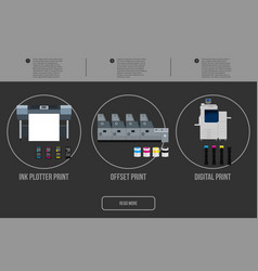 copy and polygraph equipment business press vector image