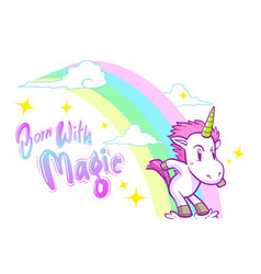 cute little unicorn background vector image