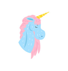 Cute magic unicorn character with closed eyes vector