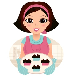 Cute woman cooking cookies isolated on white vector image