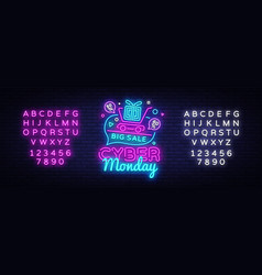 cyber monday sale neon sign cyber monday vector image