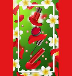 Decorative cosmetics make up accessories vector