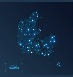 denmark map with cities luminous dots - neon vector image
