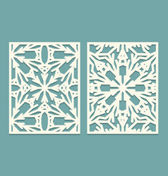 Die and laser cut ornate panels with snowflakes vector