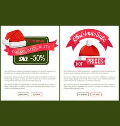 Discounts tags santa claus hats promo labels xmas vector