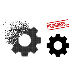 disintegrating pixel gear icon and distress vector image