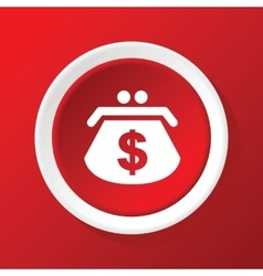 Dollar purse icon on red vector image