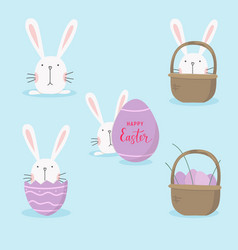 easter-set-with-cartoon-bunny-and-egg vector image