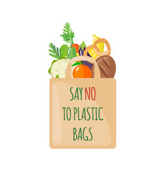 Eco bag icon with products in flat style vector