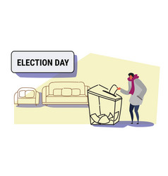 Election day concept casual man voter putting vector