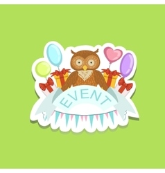 Event template label cute sticker with owl vector