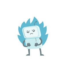 Evil robot in anger with fists and fire character vector