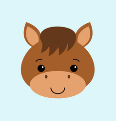 farm animals of cute horse flat style vector image