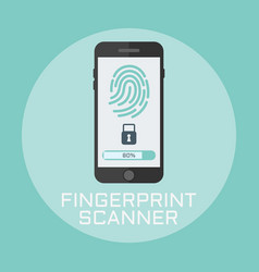 fingerprint smartphone access lock flat style vector image