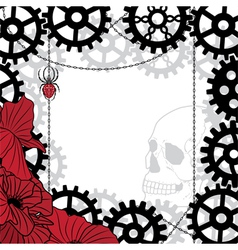 Frame with skull gears spider and chains vector
