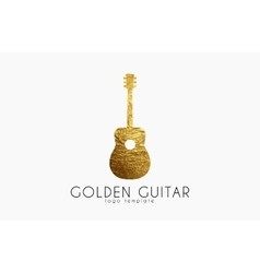 golden gutar logo music logo guitar logo design vector image