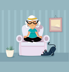 Granny in yoga pose relaxing at home cartoon vector