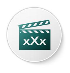 Green movie clapper with inscription xxx icon vector