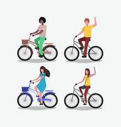 group of people on bicycle vector image