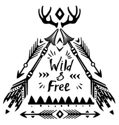 Hand drawn wild free lettering vector