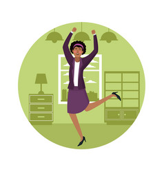 happy business woman at home vector image