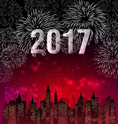 Happy New Year 2017 with fireworks background vector image