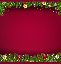 happy new year card red background and christmas vector image