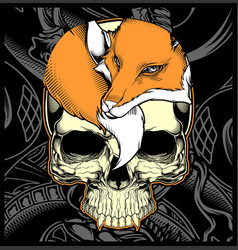 Head skull and fox hand drawing vector