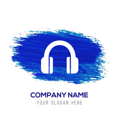 headphone icon - blue watercolor background vector image