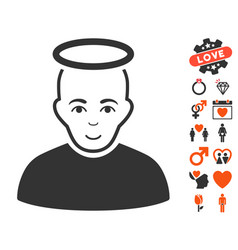 holy man icon with valentine bonus vector image
