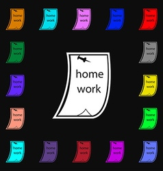 Homework icon sign Lots of colorful symbols for vector