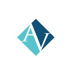 Initial av rhombus logo design vector