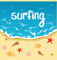 inscription summer summer and surfing sea beach vector image