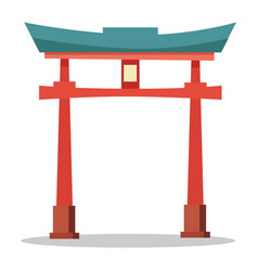 Japanese red gate traditional oriental landmark vector