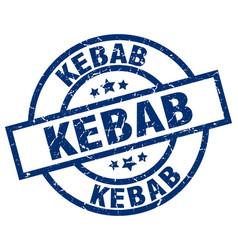 kebab blue round grunge stamp vector image