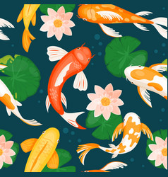 koi carp fishes swim in blue water with lotus lily vector image