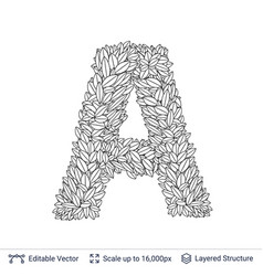 Letter a symbol of white leaves vector