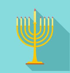 menorah icon flat style vector image