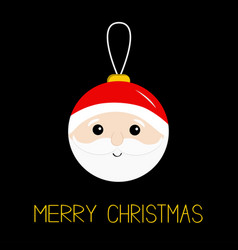 Merry christmas ball toy hanging santa claus head vector