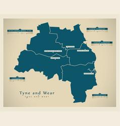 Modern map - tyne and wear metropolitan county vector